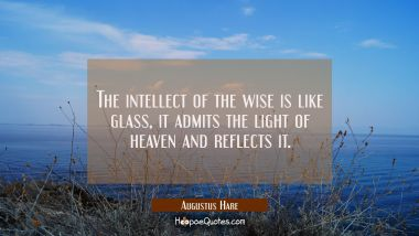 The intellect of the wise is like glass, it admits the light of heaven and reflects it.