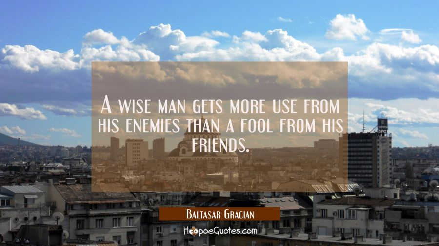A wise man gets more use from his enemies than a fool from his friends. Baltasar Gracian Quotes