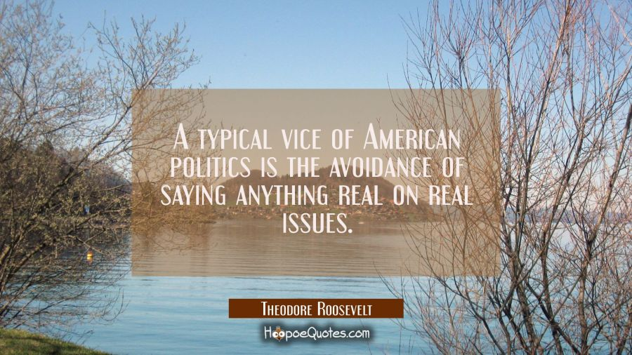 A typical vice of American politics is the avoidance of saying anything real on real issues. Theodore Roosevelt Quotes