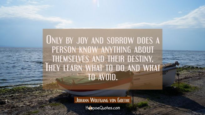 Only by joy and sorrow does a person know anything about themselves and their destiny. They learn w