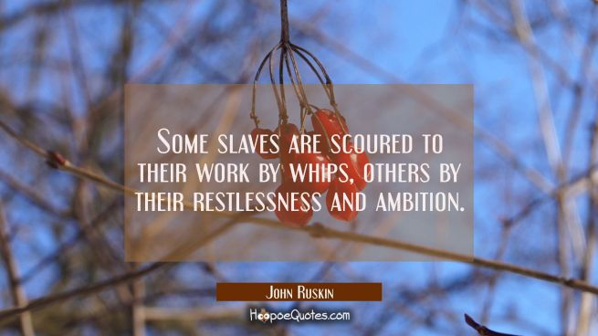 Some slaves are scoured to their work by whips others by their restlessness and ambition.