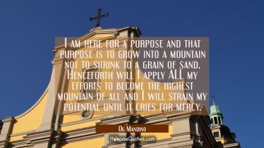 I am here for a purpose and that purpose is to grow into a mountain not to shrink to a grain of san