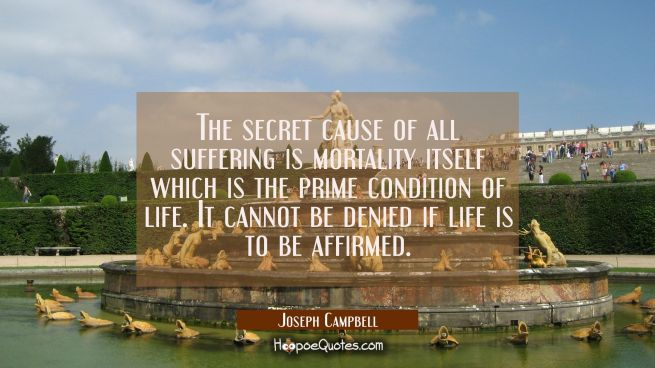 The secret cause of all suffering is mortality itself which is the prime condition of life. It cann