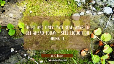 There are only two real ways to get ahead today - sell liquor or drink it.
