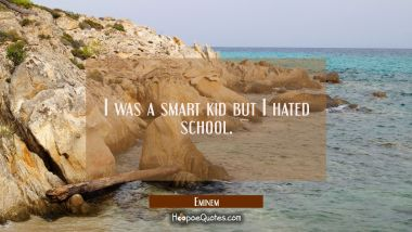 I was a smart kid but I hated school. Eminem Quotes
