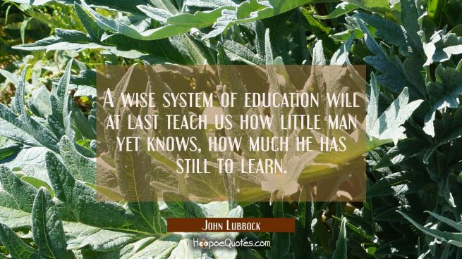 A wise system of education will at last teach us how little man yet knows how much he has still to