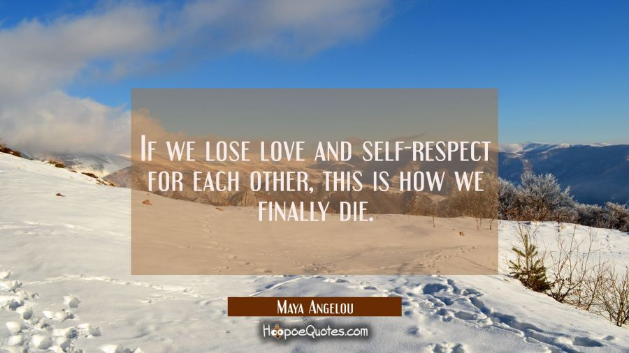 If we lose love and self respect for each other this is how we finally die. Maya Angelou Quotes