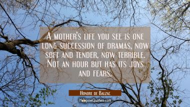 A mother's life you see is one long succession of dramas now soft and tender now terrible. Not an h