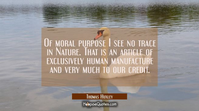 Of moral purpose I see no trace in Nature. That is an article of exclusively human manufacture and