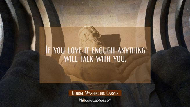 If you love it enough anything will talk with you.