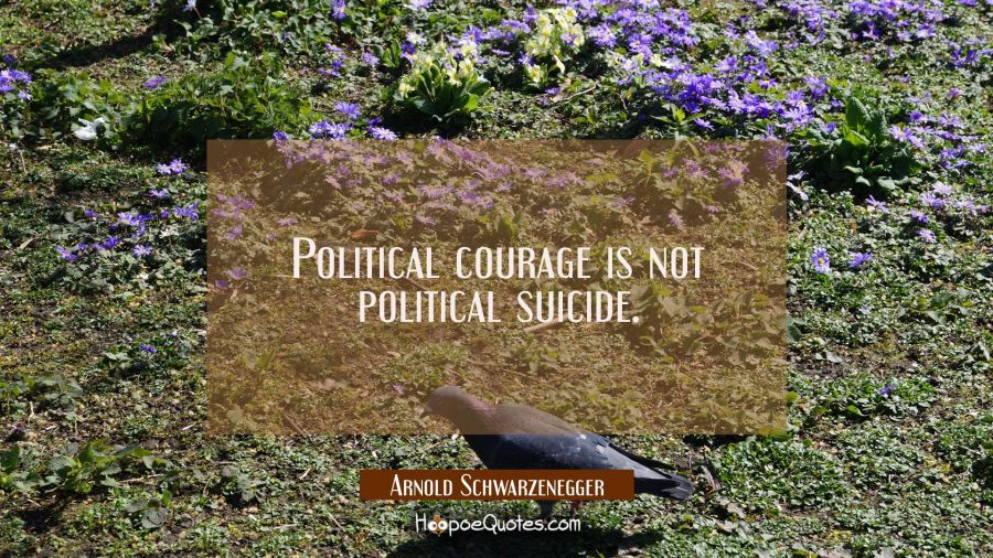 Political courage is not political suicide. Arnold Schwarzenegger Quotes