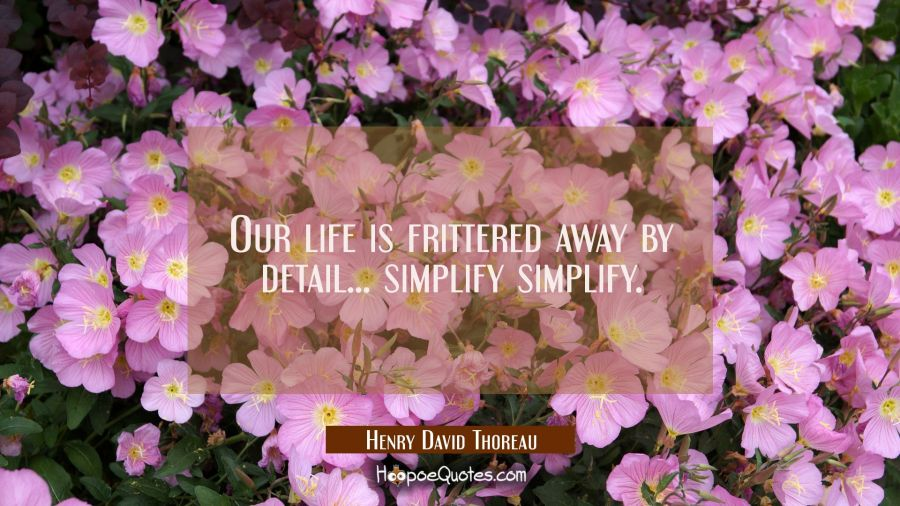 Our life is frittered away by detail... simplify simplify. Henry David Thoreau Quotes