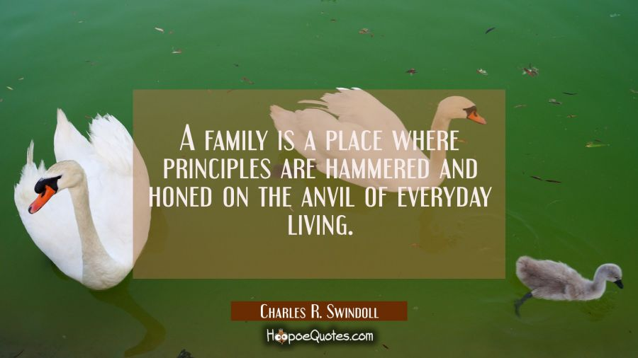 A family is a place where principles are hammered and honed on the anvil of everyday living. Charles R. Swindoll Quotes