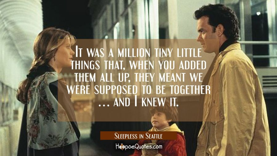 It was a million tiny little things that, when you added them all up, they meant we were supposed to be together... and I knew it. Movie Quotes Quotes