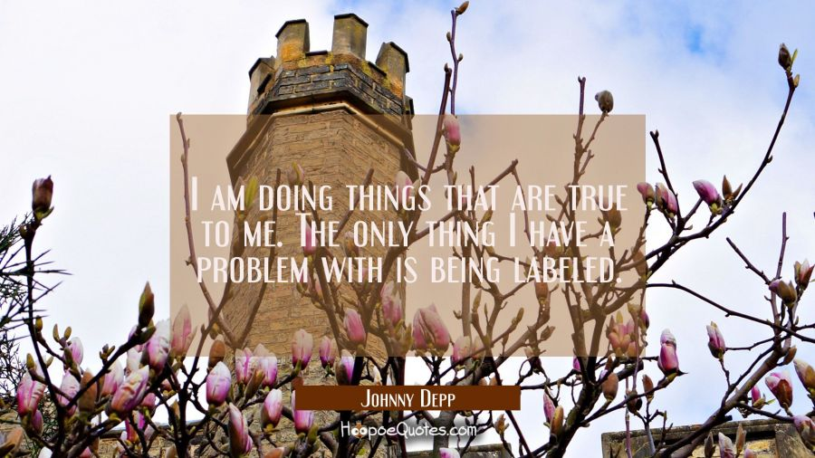 I am doing things that are true to me. The only thing I have a problem with is being labeled. Johnny Depp Quotes