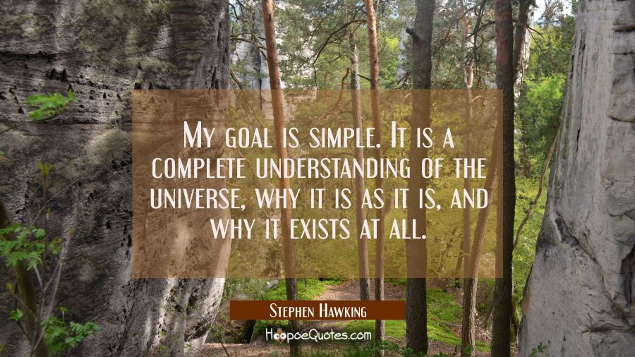 My goal is simple. It is a complete understanding of the universe why it is as it is and why it exi Stephen Hawking Quotes
