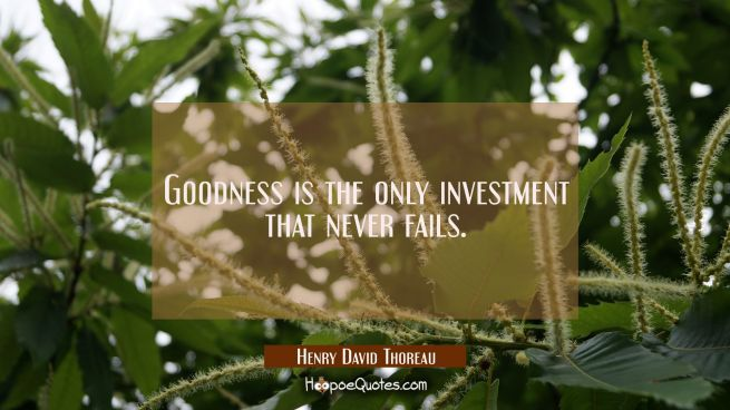 Goodness is the only investment that never fails.