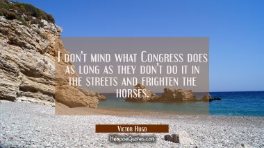 I don't mind what Congress does as long as they don't do it in the streets and frighten the horses.