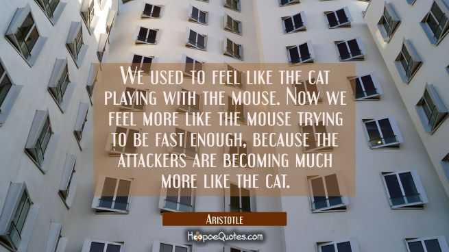 We used to feel like the cat playing with the mouse. Now we feel more like the mouse trying to be f
