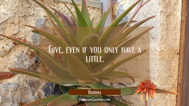 Give, even if you only have a little.
