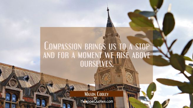 Compassion brings us to a stop and for a moment we rise above ourselves.