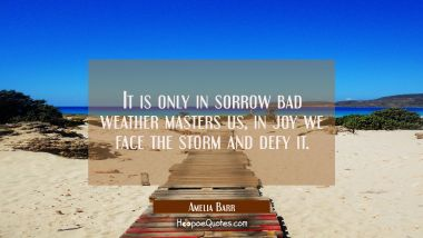 It is only in sorrow bad weather masters us, in joy we face the storm and defy it.