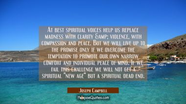 At best spiritual voices help us replace madness with clarity & violence with compassion and peace. Joseph Campbell Quotes