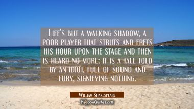 Life's but a walking shadow a poor player that struts and frets his hour upon the stage and then is