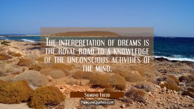 The interpretation of dreams is the royal road to a knowledge of the unconscious activities of the Sigmund Freud Quotes