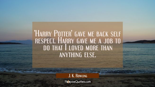 'Harry Potter' gave me back self respect. Harry gave me a job to do that I loved more than anything