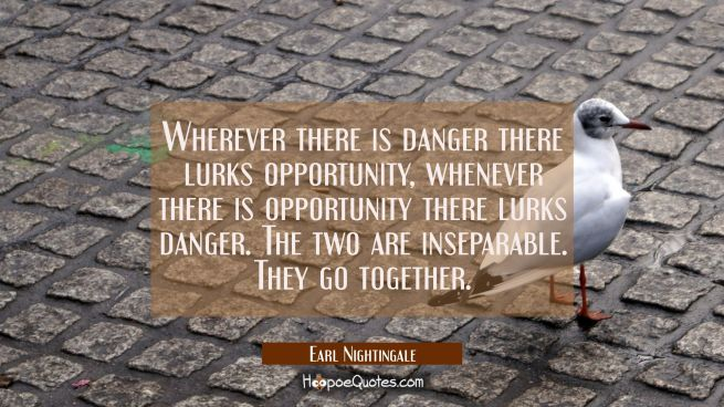 Wherever there is danger there lurks opportunity, whenever there is opportunity there lurks danger.