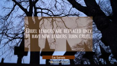 Cruel leaders are replaced only to have new leaders turn cruel.