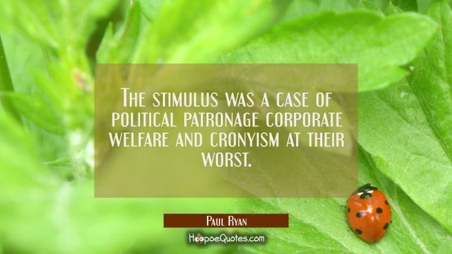 The stimulus was a case of political patronage corporate welfare and cronyism at their worst.