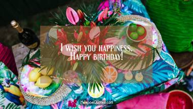 I wish you happiness. Happy birthday! Birthday Quotes