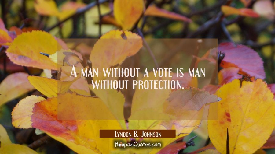 A man without a vote is man without protection. Lyndon B. Johnson Quotes