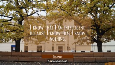 I know that I am intelligent because I know that I know nothing.