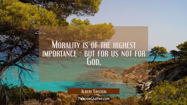 Morality is of the highest importance - but for us not for God.