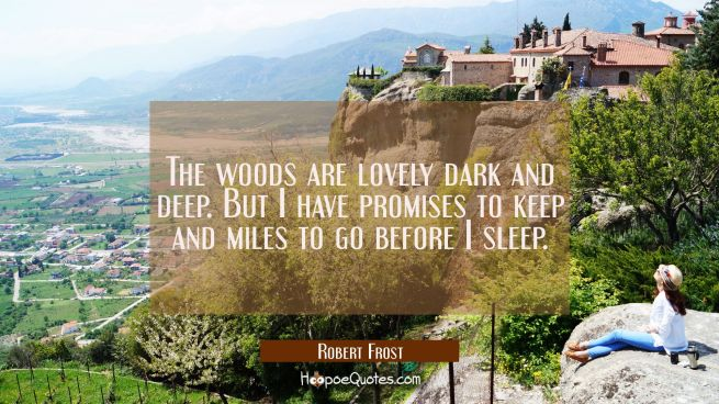 The woods are lovely dark and deep. But I have promises to keep and miles to go before I sleep.