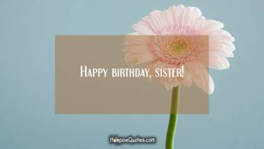 Happy birthday, sister! Quotes